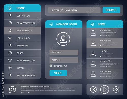 vector blue mobile user interface design - 78049013