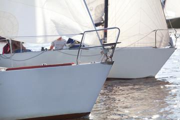 Bows of yacht on regatta