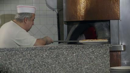 Portrait Man Working Chef Cooking Pizza Restaurant Kitchen