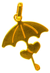 bijou or, deux petits coeurs sous un parapluie