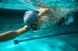 canvas print picture - Male swimmer at the swimming pool.Underwater photo.