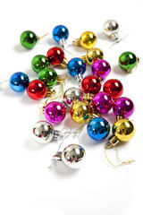 colorful christmas balls top view