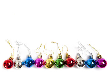 colorful christmas balls in line top view