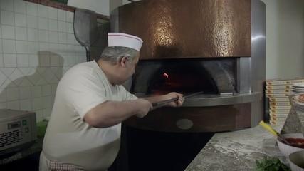 Portrait Man At Work Cook Pizza Restaurant Kitchen Food