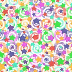 Seamless pattern, colored stars
