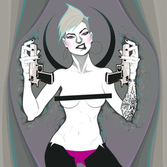 Portrait of a lady with guns