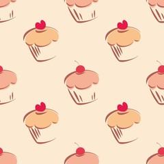 Tile vector cute cupcake pattern or decoration wallpaper
