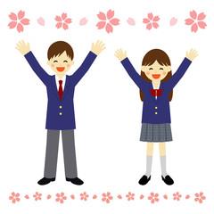 春 学生 喜び / vector eps10