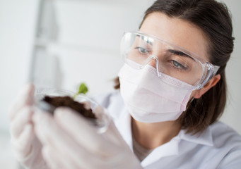 close up of scientist with plant and soil in lab