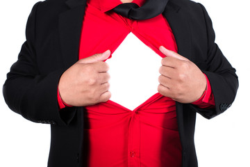 business man tears open his shirt in a super hero fashion