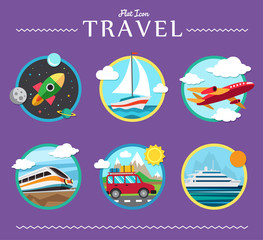Icons set of traveling, planning a summer vacation, tourism and