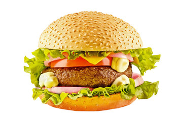 Big hamburger with beef cutlet and vegetables on white backgound