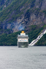 Ship in fjord, Norway.