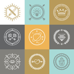 Vector abstract hipster signs and logo design elements