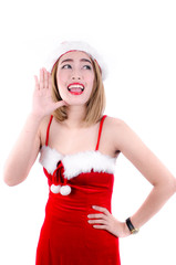 sexy girl wearing santa claus clothes isolated on white.