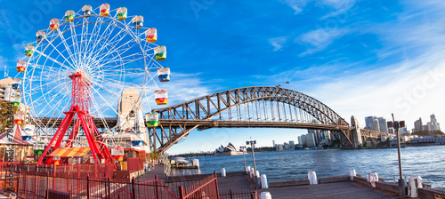 Aluminium Sydney Luna park wheel with harbour bridge arch in Sydney, Australia.