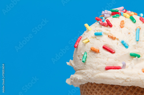 Foto op Aluminium Dessert ice cream with topics on colorful background