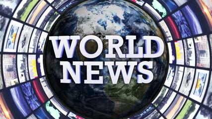 WORLD NEWS Text Monitors Tunnel, Loop