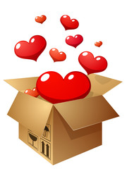 openning box with flying hearts