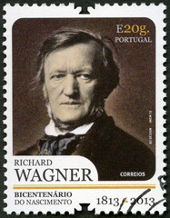 PORTUGAL - 2013: shows portrait of Richard Wagner (1813-1883)