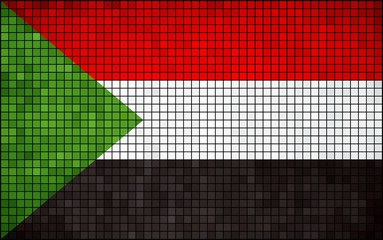 Abstract mosaic flag of Sudan