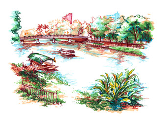 asian country riverside water colour painting illustration
