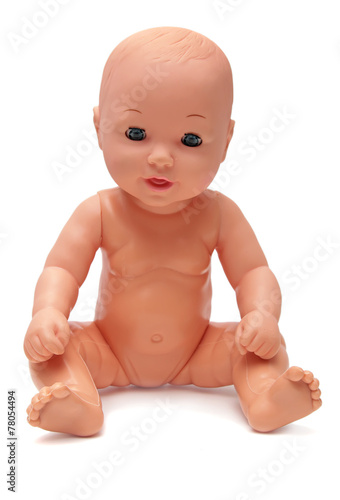 Plastic Baby Doll on Isolated White Background - 78054494