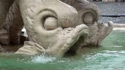 Dolphin heads of Triton Fountain (Fontana del Tritone). Rome