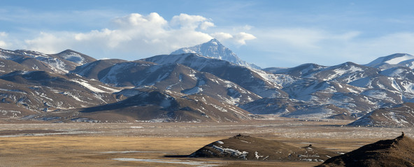Tibetan plateau with Everest view, Tibet