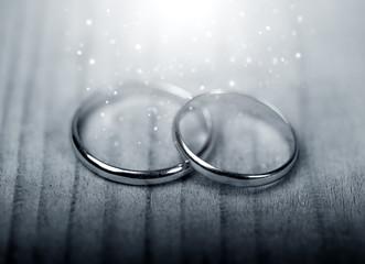 Wedding  rings in mistical light