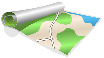 ilustration of the map which winded in a roll