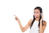 Beautiful customer service representative with handsfree devise