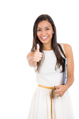 Portrait excited happy successful young woman