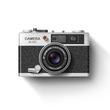 Old photo camera. Vector