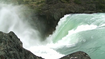 Waterfall in Torres del Paine National Park, Chile. Slow motion