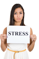 Sad woman with stress sign isolated on white background
