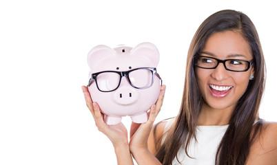 Save money on glasses eyewear. Piggybank woman wearing glasses