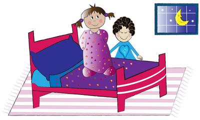 Niña subida en la cama y su madre.