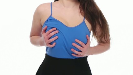 Woman breast in slow motion