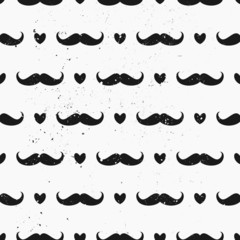 Mustaches and Hearts Seamless Pattern