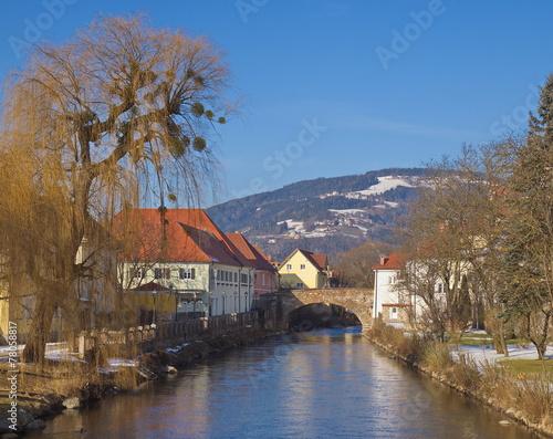 Leinwandbild Motiv Die Fleischbrücke in Wolfsberg / Kärnten / Österreich