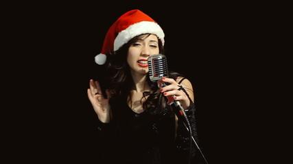 Music woman singer christmas theme