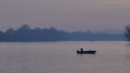 Fishing boat on river