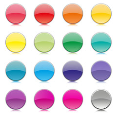 Set of multicolored buttons, vector illustration.