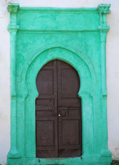 Old Door with green details