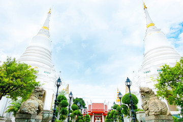 Landscape view with white pagoda in Wat Phichaiyatikaram temple,