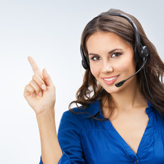 Support phone operator showing