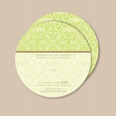 Round, double-sided wedding invitation. With place for text
