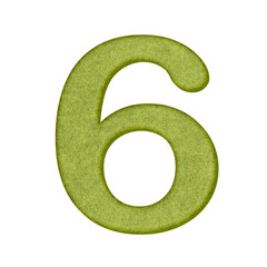 green Number in Paper craft texture isolated on white background