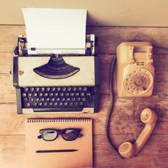 vintage typewriter on the wood desk
